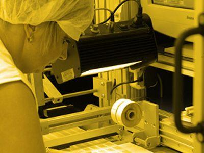 Gelblichtfolie im Labor